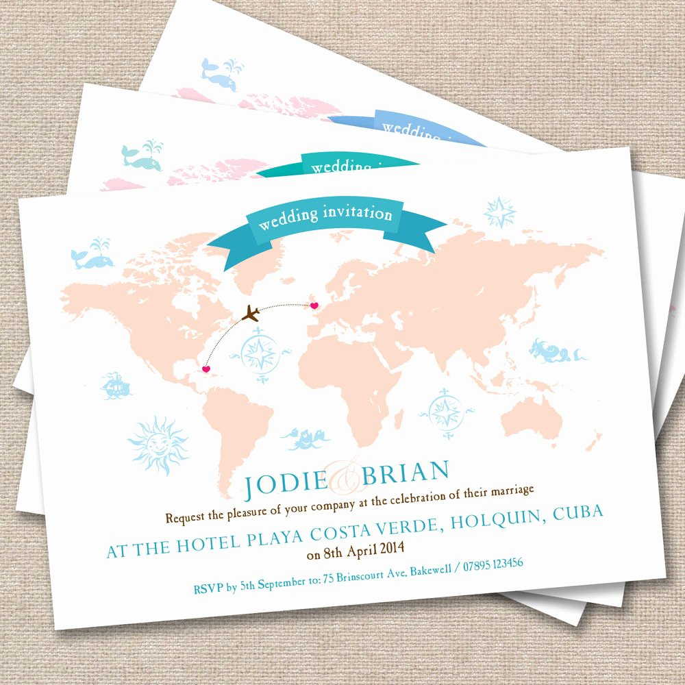 Maps for Wedding Invitations Templates Unique 25 X Personalised Wedding Invitations Vintage World Map Post Card Abroad Beach