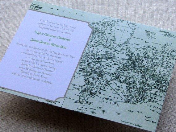 Maps for Wedding Invitations Templates Unique Items Similar to Diy Vintage Map Wedding Invitation Green Printable Pdf Template World