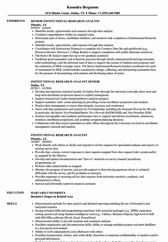 Market Research Analyst Resume Beautiful Institutional Research Analyst Resume Samples
