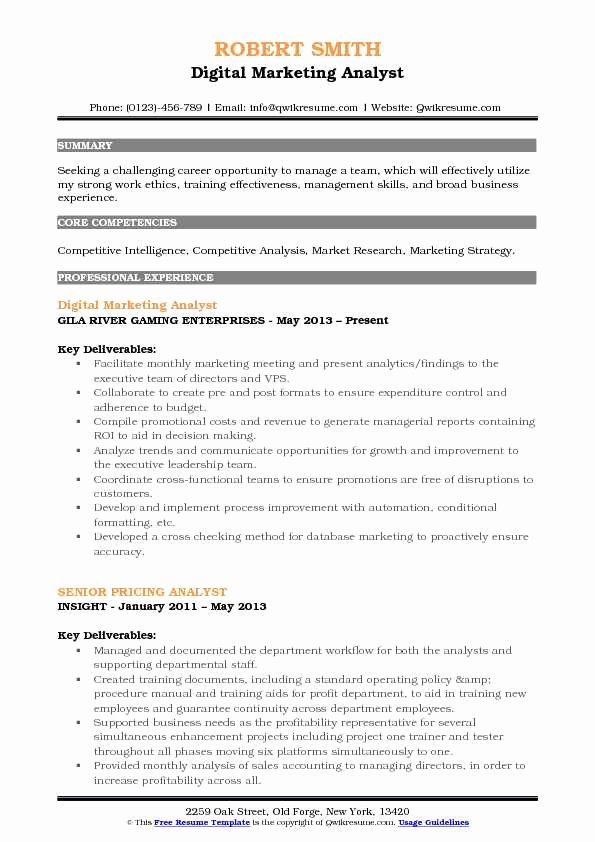 Market Research Analyst Resume New Marketing Analyst Resume Samples