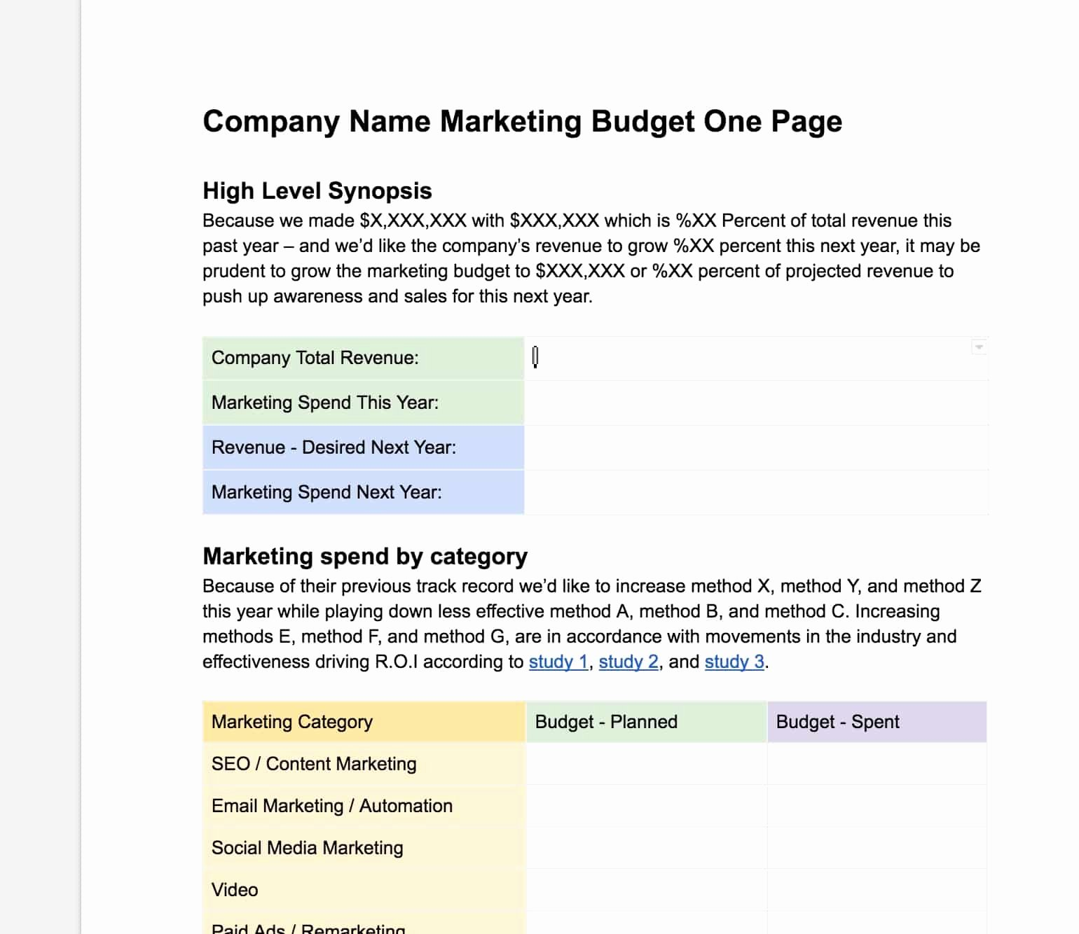 Marketing One Sheet Template Awesome Easy Free Marketing Bud Ing E Page Template