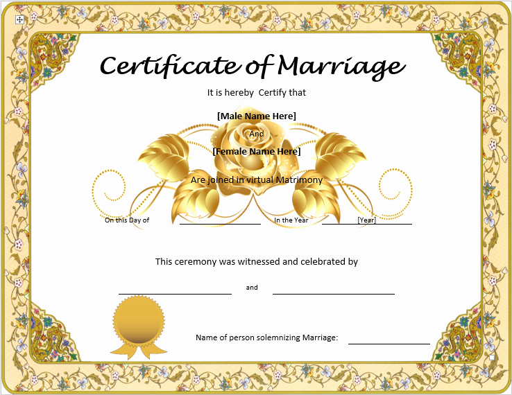 Marriage Certificate Template Microsoft Word Best Of Marriage Certificate Template Word Templates