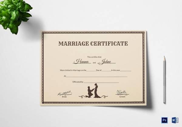 Marriage Certificate Template Microsoft Word Elegant Free 17 Sample Marriage Certificate Templates In Pdf