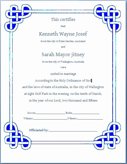 Marriage Certificate Template Microsoft Word Fresh Ms Word formal Marriage Certificate Template