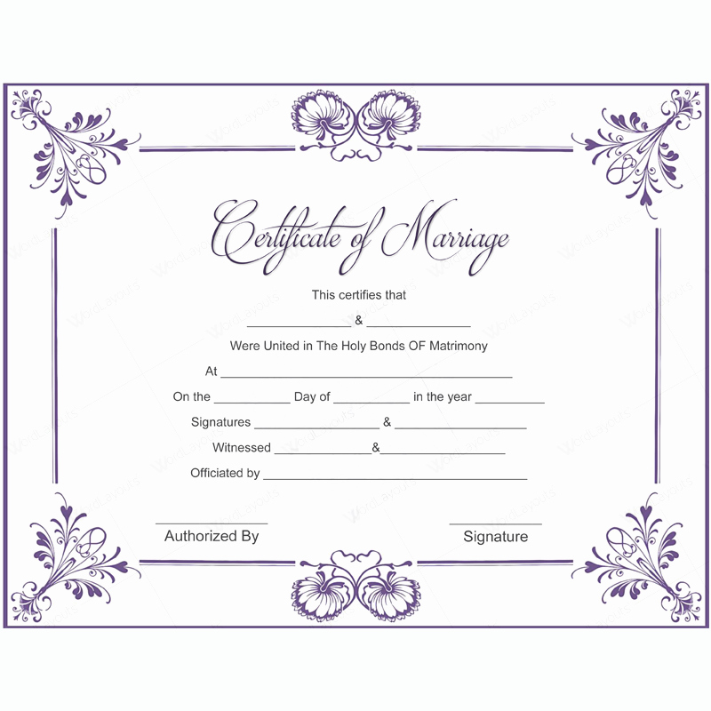 Marriage Certificate Template Microsoft Word Lovely 5 Plus Adorable Blank Marriage Certificate Designs for Word