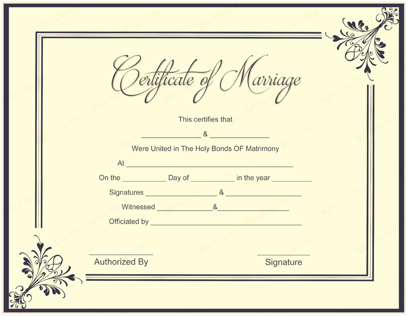 Marriage Certificate Template Microsoft Word New Document Templates February 2016