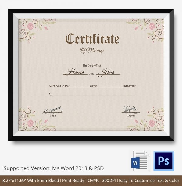 Marriage Certificate Template Microsoft Word New Marriage Certificate Template 12 Free Word Pdf Psd format Download