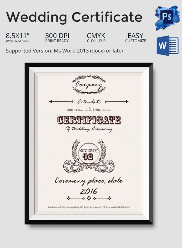 Marriage Certificate Template Microsoft Word New Marriage Certificate Template 13 Word Pdf Psd format Download