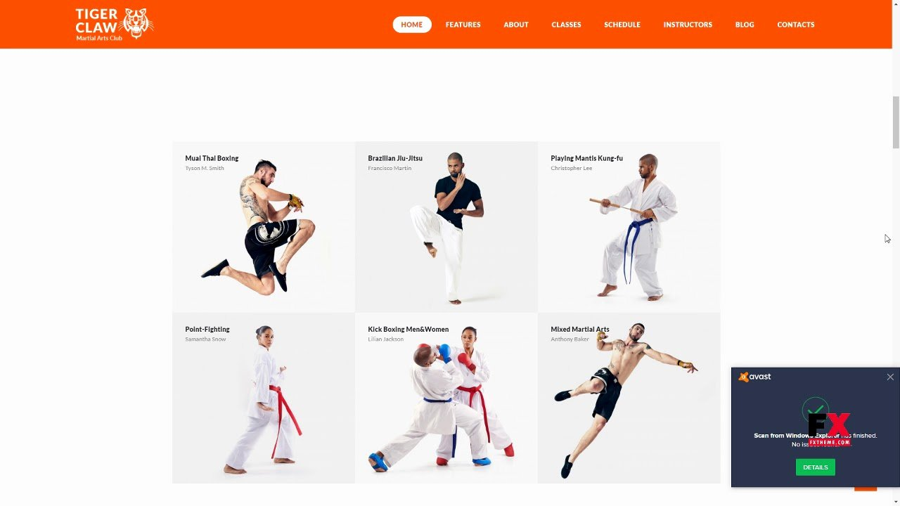 Martial Arts Wordpress theme Awesome Tiger Claw Martial Arts School and Fitness Center Wordpress theme