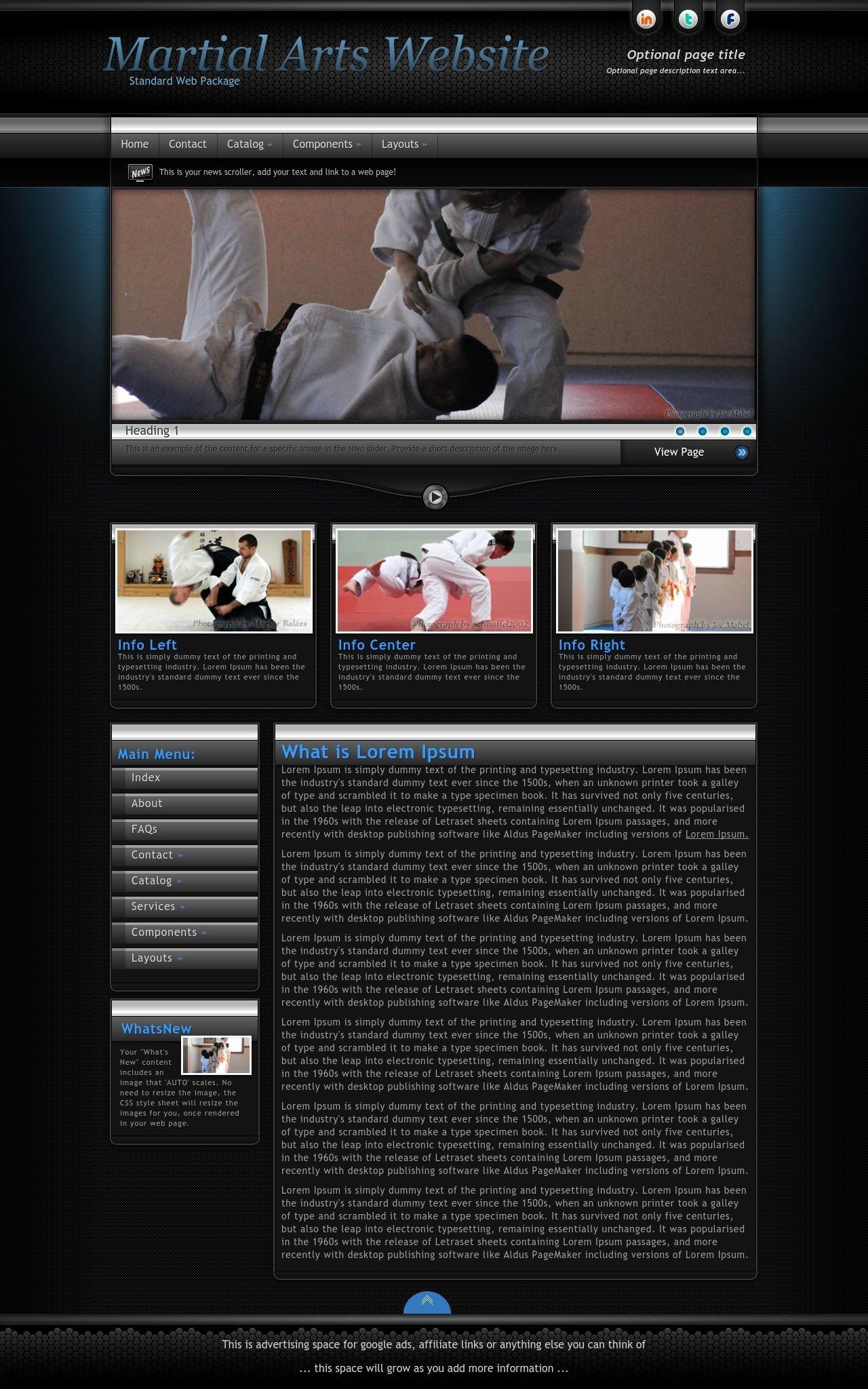 Martial Arts Wordpress theme Fresh Element Martial Arts Black Blue