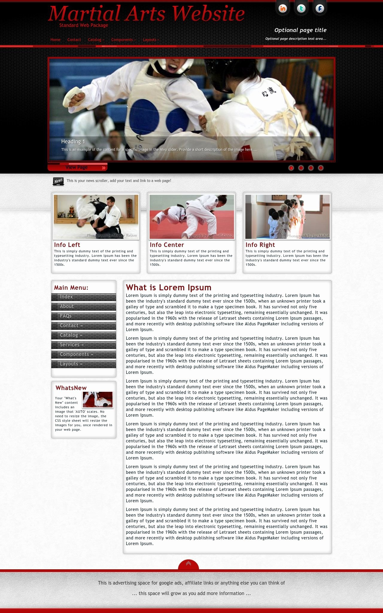 Martial Arts Wordpress theme Fresh Instinct Martial Arts Red Black