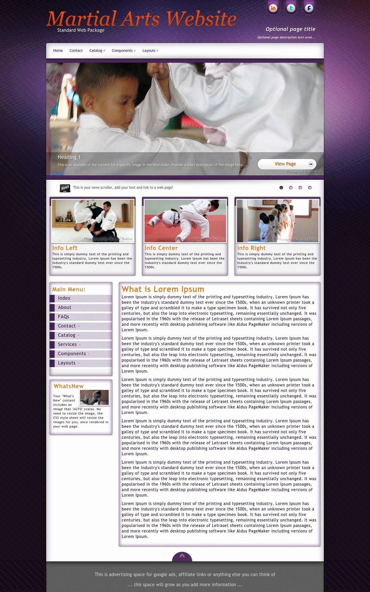 Martial Arts Wordpress theme Inspirational Acclaim Martial Arts Purple Grey