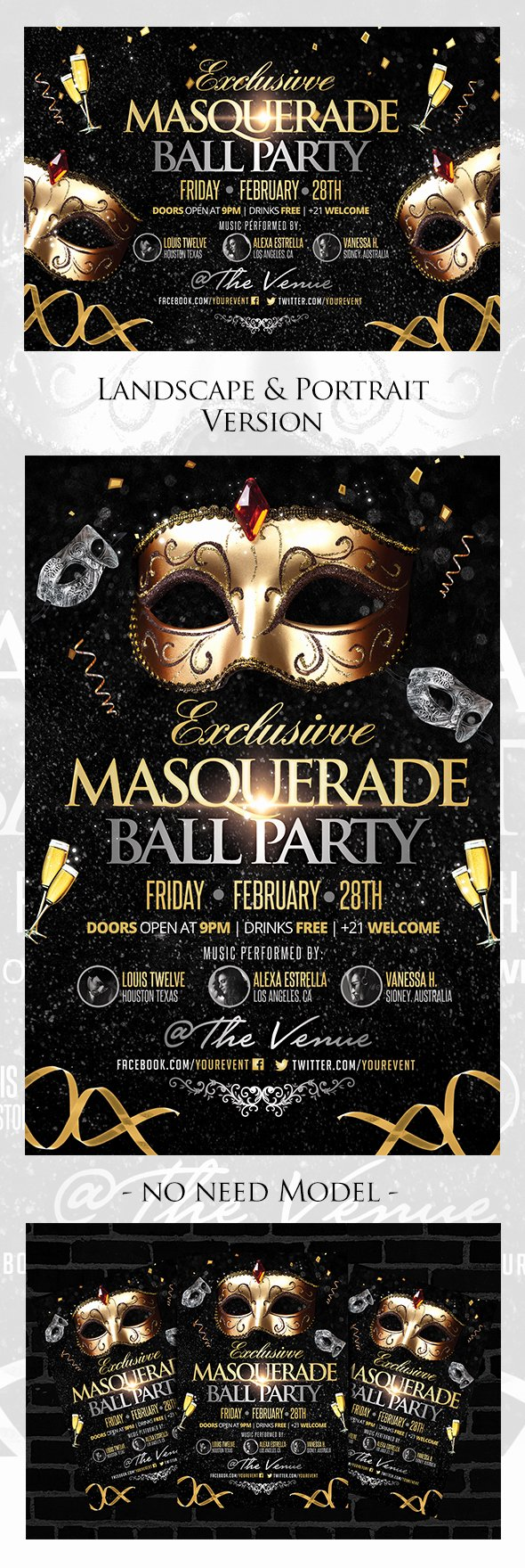 Masquerade Ball Invitations Free Templates Lovely Exclusive Masquerade Ball Party Flyers Template On Behance