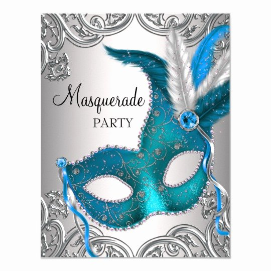Masquerade Ball Invitations Free Templates Luxury Quinceanera 15th Birthday Teal Blue Silver White Invitation