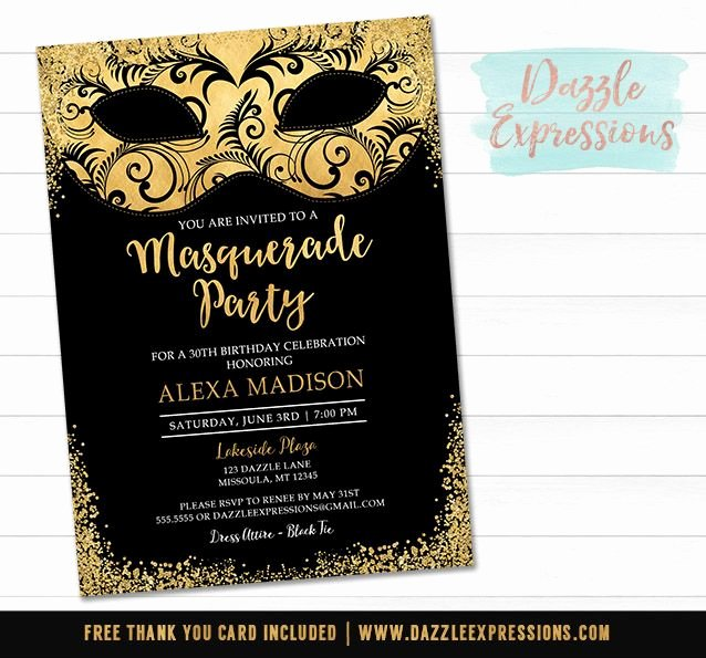 Masquerade Ball Invitations Free Templates New Printable Black and Gold Masquerade Invitation Elegant Birthday Party Black Tie event