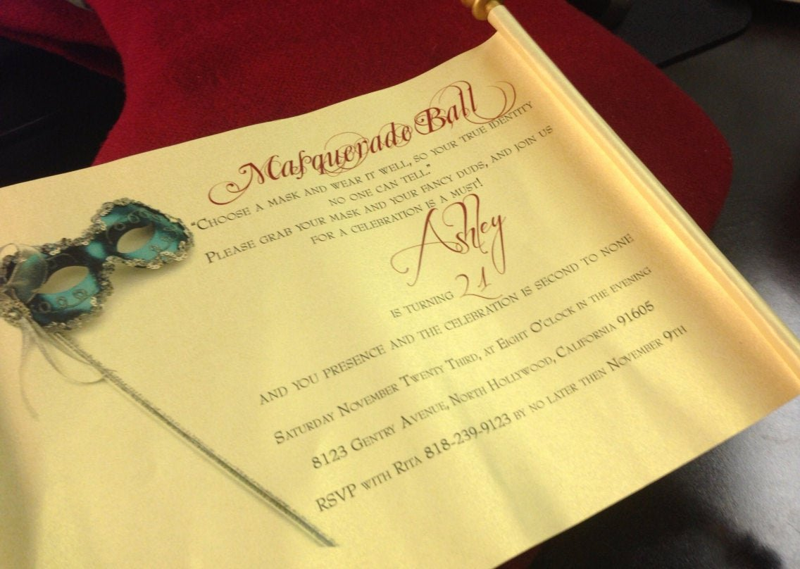 Masquerade Ball Invitations Wording Beautiful Masquerade Ball Invitation Scroll Scroll Invitation