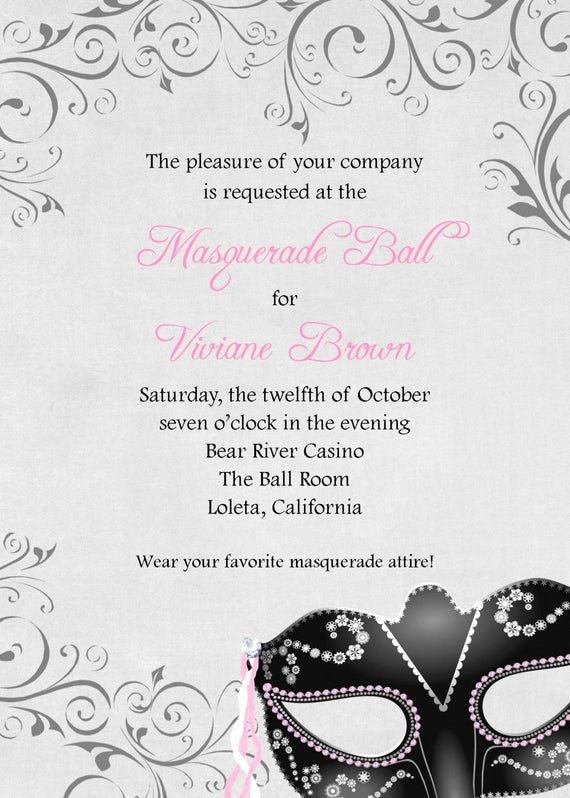 Masquerade Ball Invitations Wording Best Of Masquerade Ball Invitation 5x7 Custom Digital Card