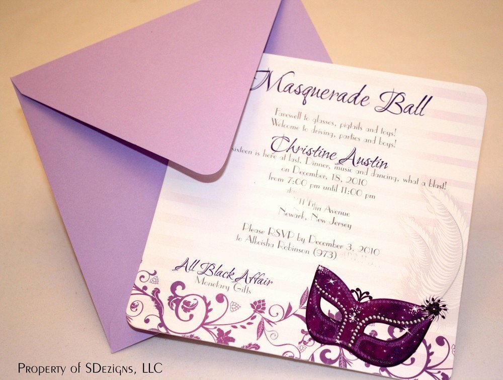 Masquerade Ball Invitations Wording Elegant Masquerade Birthday Invitations