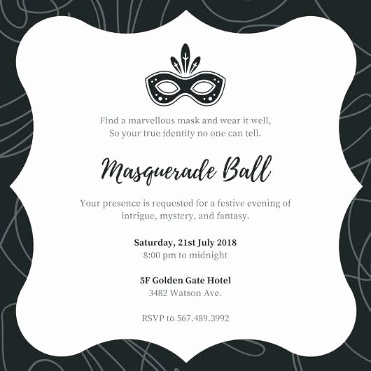 Masquerade Ball Invitations Wording Elegant Masquerade Party Invitation Wording