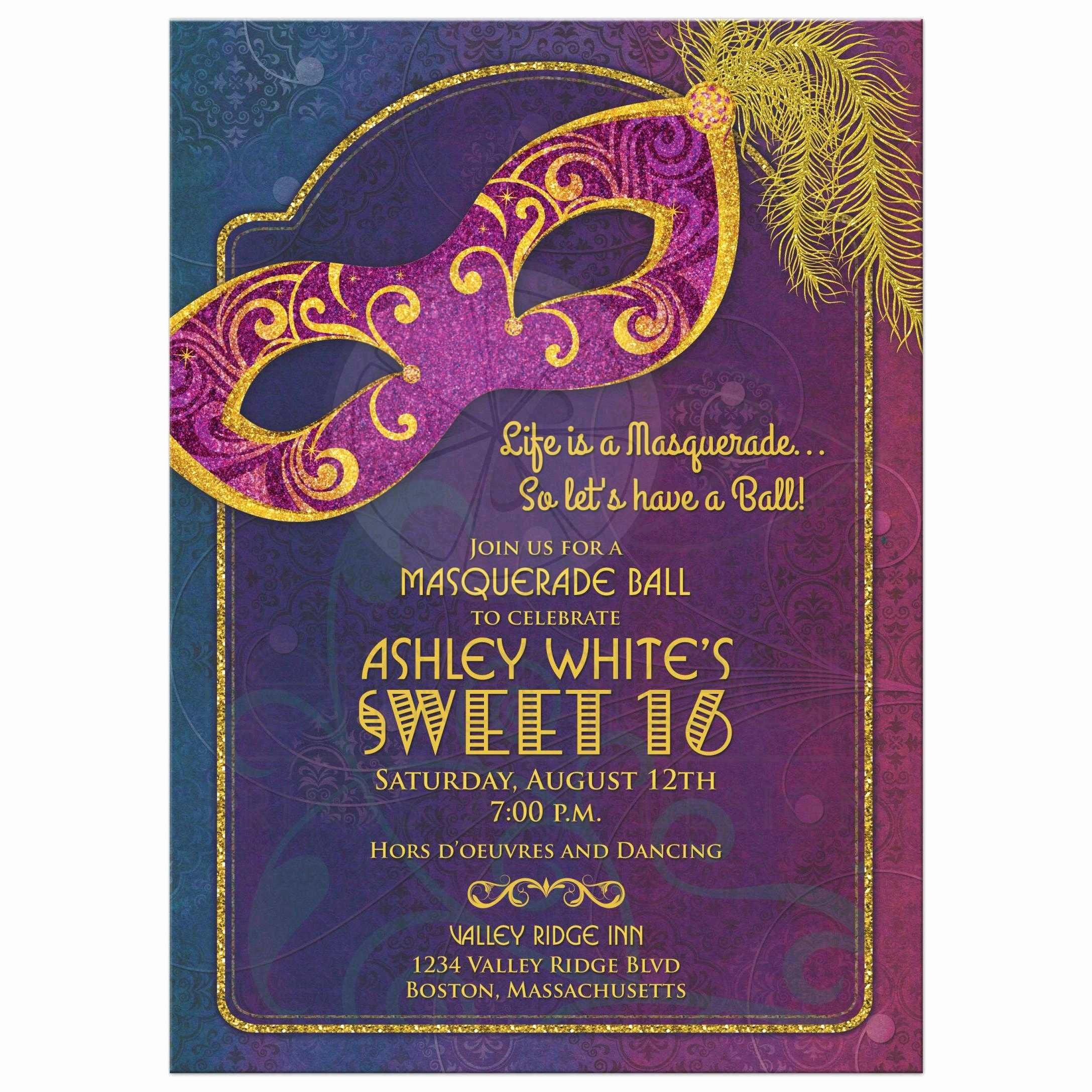 Masquerade Ball Invitations Wording Unique Masquerade Ball Sweet 16 Invitation