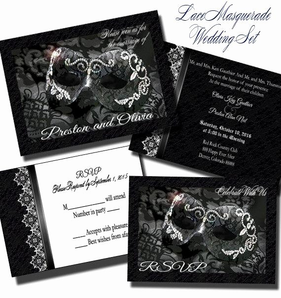 Masquerade Ball Invite Wording Beautiful Lace Masquerade Wedding Invitation Set Wedding Invitation
