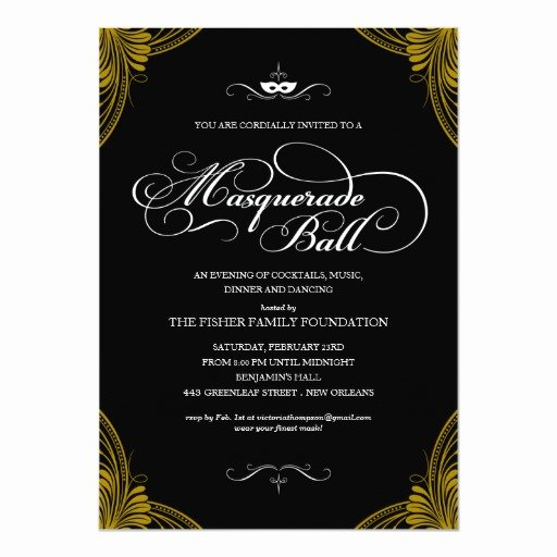 Masquerade Ball Invite Wording Elegant formal Masquerade Ball Invitations