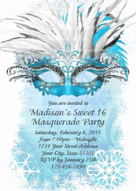 Masquerade Ball Invite Wording Fresh Diy Ice Blue Masquerade Ball Invitation Sweet 16 Party