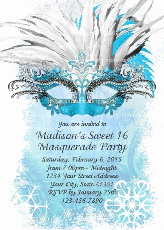 Masquerade Ball Invite Wording Fresh Diy Ice Blue Masquerade Ball Invitation Sweet 16 Party
