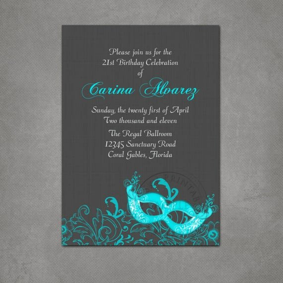 Masquerade Ball Invite Wording Inspirational Masquerade Ball Birthday Party Invitation Printable File