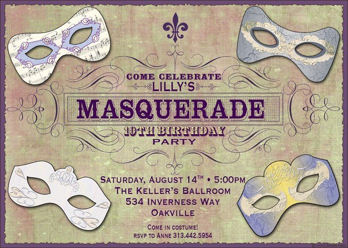 Masquerade Ball Invite Wording Lovely Masquerade Ball Personalized Invitation Birthday Party or