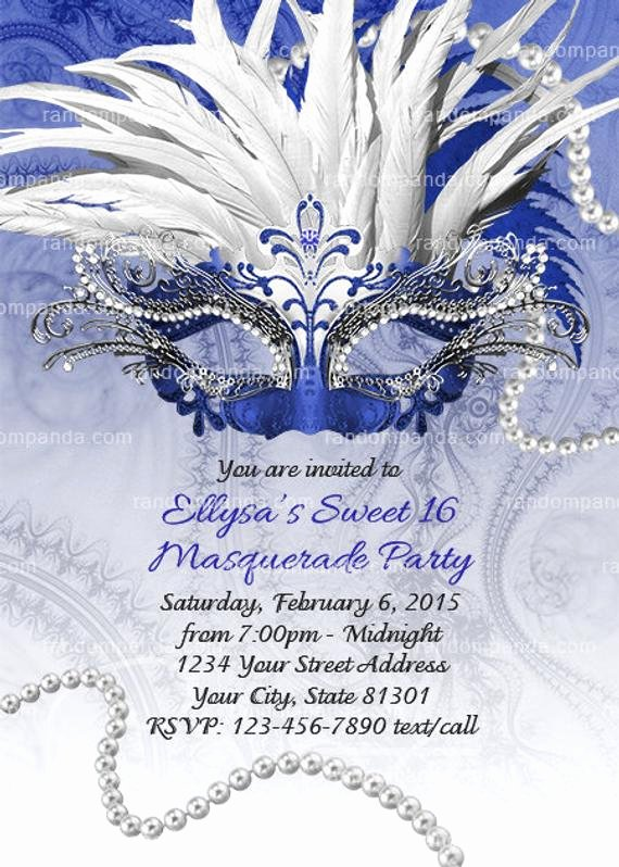 Masquerade Ball Invite Wording Luxury Masquerade Ball Invitation Royal Blue Sweet 16 Party