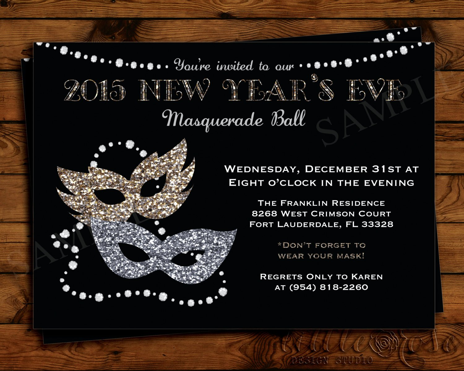 Masquerade Ball Invite Wording New New Year S Eve Masquerade Party Invitation by Littlerosestudio