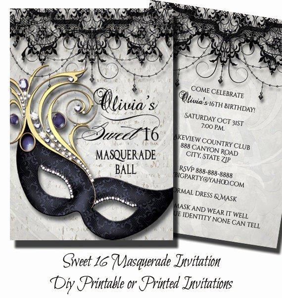 Masquerade Invitations for Sweet 16 Beautiful Sweet Sixteen Masquerade Party Invitation Masquerade Invite