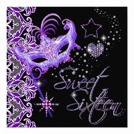 Masquerade Invitations for Sweet 16 Best Of Masquerade Sweet Sixteen Sweet 16 Purple Black