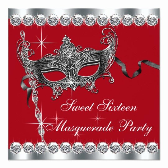 Masquerade Invitations for Sweet 16 Elegant Red Sweet Sixteen Masquerade Party Invitations