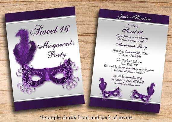 Masquerade Invitations for Sweet 16 Fresh Items Similar to Printable Sweet 16 Masquerade Party