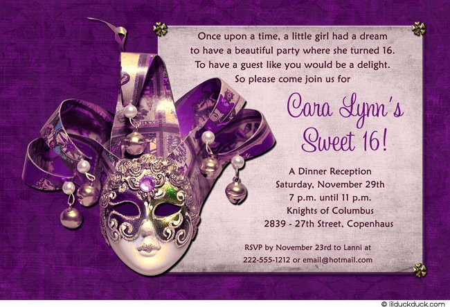Masquerade Invitations for Sweet 16 Fresh Sweet 16 Birthday Invitations Free Free Invitation