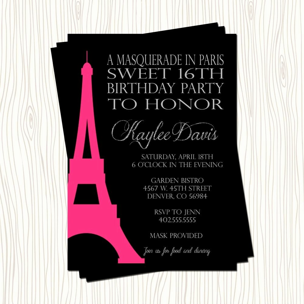 Masquerade Invitations for Sweet 16 Inspirational Masquerade Paris Eiffel tower Sweet 16 Sixteen Birthday