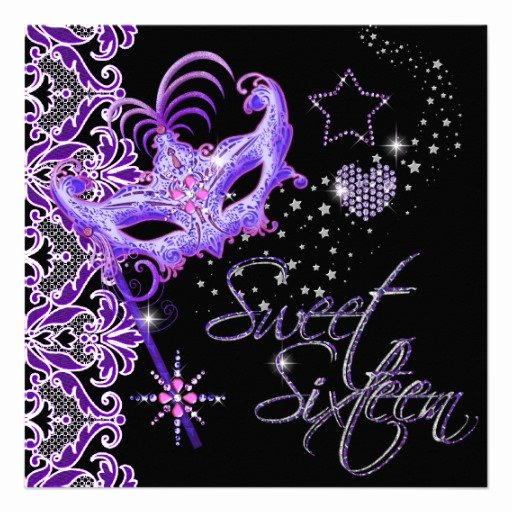Masquerade Invitations for Sweet 16 Inspirational Masquerade Sweet Sixteen Sweet 16 Purple Black