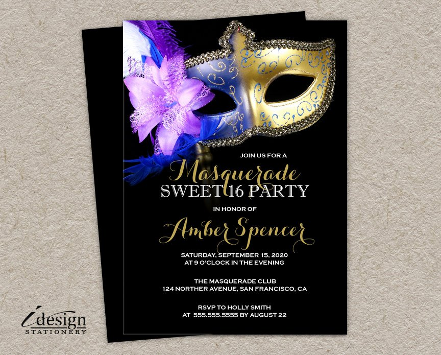 Masquerade Invitations for Sweet 16 Lovely Sweet 16 Masquerade Invitation Diy Printable Mardi Gras Sweet