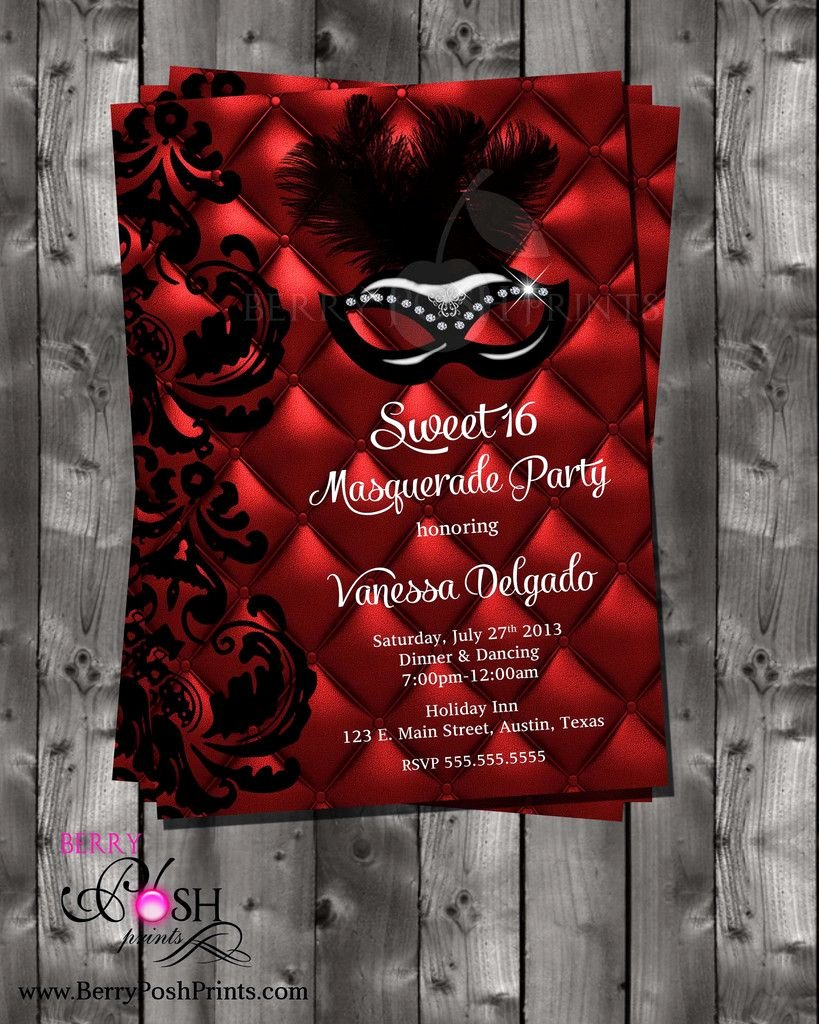 Masquerade Invitations for Sweet 16 Luxury Masquerade Ball Digital Invitation for Sweet Sixteen