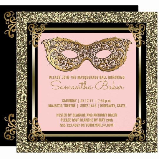 Masquerade Invitations for Sweet 16 Luxury Sweet 16 Masquerade
