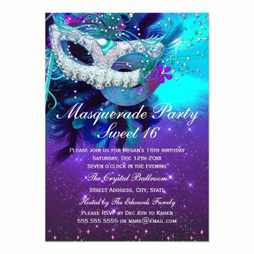 Masquerade Invitations for Sweet 16 Luxury Teal Purple Feather Mask Masquerade Invitation