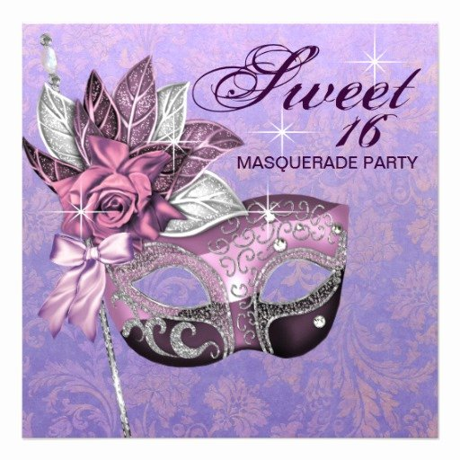 Masquerade Invitations for Sweet 16 New Pink Purple Sweet 16 Masquerade Party Personalized Invites