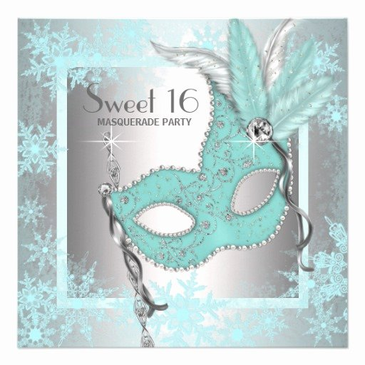 "Masquerade Invitations for Sweet 16 New Teal Blue Snowflake Sweet 16 Masquerade Party 5 25"" Square"