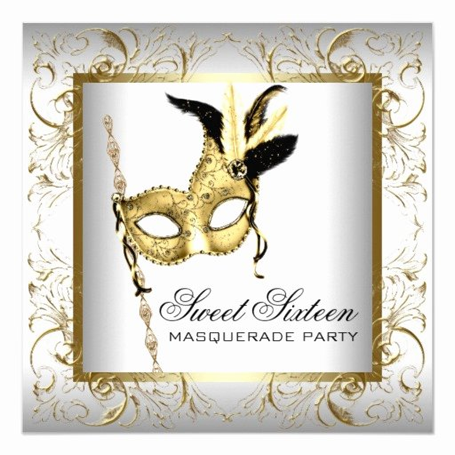 Masquerade Invitations for Sweet 16 Unique Gold Black White Sweet Sixteen Masquerade Party 5 25