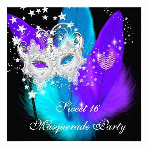 Masquerade Invitations for Sweet 16 Unique Masquerade Sweet 16 Purple Teal Black Feather Mask 5 25x5