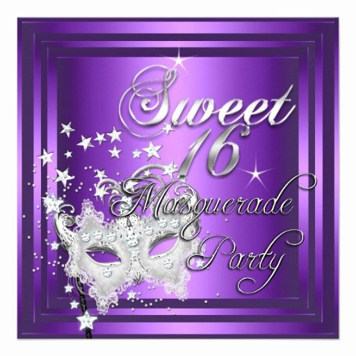 Masquerade Invitations for Sweet 16 Unique Masquerade Sweet 16 Sixteen Birthday Purple White 5 25x5
