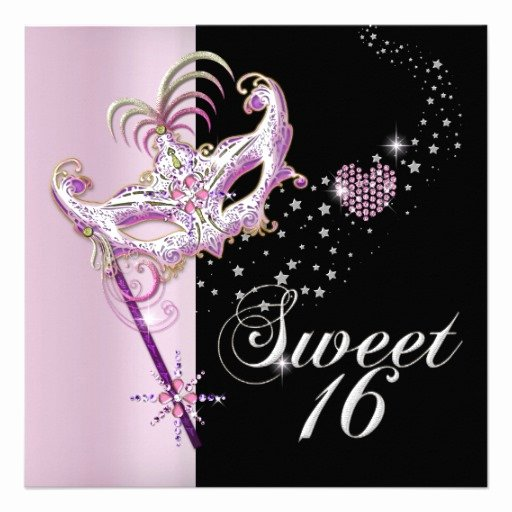 "Masquerade Invitations for Sweet 16 Unique Masquerade Sweet Sixteen Sweet 16 Pink Black 5 25"" Square"