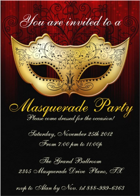 Masquerade Invitations Template Free Awesome 20 Masquerade Invitation Templates Word Psd Ai Eps